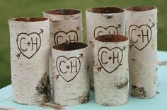 Engraved Birch Bark Wood Vases or Candle Sleeves