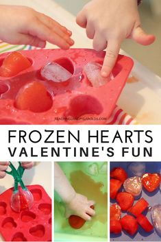 This frozen hearts sensory bin is a fun Valentine's activity for toddlers. Introduce bug tongs for an extra fine motor challenge. day crafts for kindergartners Frozen Hearts Valentine's Fun for Toddlers Valentine Sensory, Valentines Sweets, Valentine Theme, Valentines Day Activities, Valentines Day Party, Valentine Day Crafts, Valentines Hearts, Valentine Stuff, Sensory Activities Toddlers