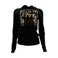 3 Forty - Women's Im Not Bossy Gold Foil Fleece Hoodie Sweatshirt - Black