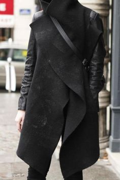 Cowl collared wool & leather spliced jacket