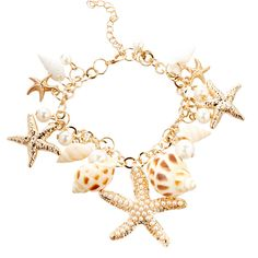 Frankie & Stein Goldtone Seashell Charm Bracelet ($9.99) ❤ liked on Polyvore featuring jewelry, bracelets, seashell jewelry, gold tone jewelry, shell bangles, shell jewelry and seashell charm bracelet