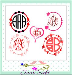 Valentine's Arrow Monogram Frames SVG, Cuttable SVG EPS Png Dxf, Cricut Design Space, Silhouette Studio, Digital Cut Files Instant Download by JenCraftDesigns on Etsy