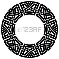 ornamental round celtic frame, black on white photo