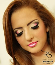 Pink and Black Cut Crease Look....like the lips where it looks like 2 or 3 colors have been used....