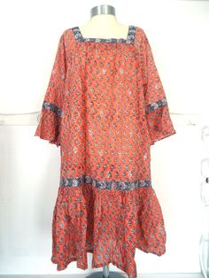 ANOKHI EAST ARTISAN HANDBLOCK PRINT DRESS BOHO INDIAN TEXTILES 100% COTTON