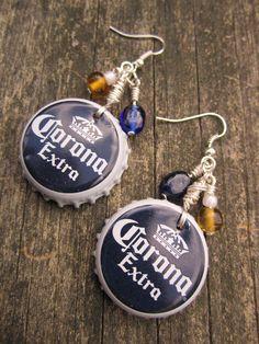 """Recycled & Repurposed Corona Beer Bottle Cap Beaded Dangle Earrings, 2.5"""" #Unbranded #Beaded"""