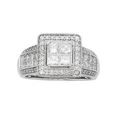 14k White Gold IGL Certified 1 1/2 Carat T.W. Diamond Halo Engagement Ring, Women's, Size: 9