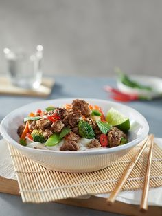 Bangkok beef mince noodles recipe | Australian Beef - Recipes, Cooking Tips and More Noodle Recipes, Beef Recipes, Australian Beef, Stir Fry, Cooking Time, Bangkok, Noodles, Fries, Favorite Recipes