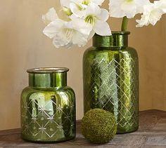 Everett Etched Green Mercury Glass Vases