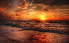 Download wallpapers North Sea, coast, sunset, Atlantic Ocean, waves, Europe