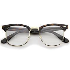 9fc8a4548ba Retro Square Clear Lens Horn Rimmed Half-Frame Eyeglasses 50mm