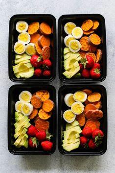 Diet Snacks Breakfast Snack Boxes Meal Prep - Snack boxes served breakfast style with hard-boiled eggs, sweet potato, avocado, and fresh berries. Whole 30 Breakfast, Breakfast Snacks, Healthy Breakfast Meal Prep, Healthy Drinks, Healthy Snacks, Nutrition Drinks, Diet Snacks, Healthy Smoothies, Clean Eating Snacks