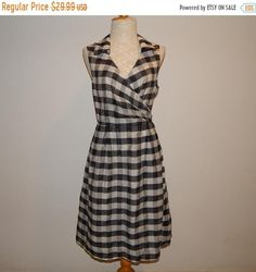 496494a53c Charming Black   White Plaid Checked Wrap Summer Sleeveless Dress Bust 40  Size L US Size 14