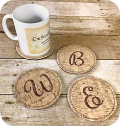 In The Hoop :: Cork Coasters Set 1 - Embroidery Garden In the Hoop Machine Embroidery Designs