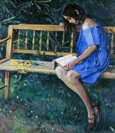 Михаил Нестеров - Наташа Нестерова на садовой скамейке