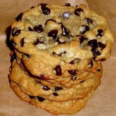 Paradise Bakery Chocolate Chip Cookie Recipe:  1 cup butter 1 cup sugar 1/2 cup brown sugar 2 eggs 2 teaspoons vanilla 2 1/4 cups flour 1 teaspoon baking soda 1/2 teaspoon salt 1 12 ounce bag semi-sweet chocolate chips.   Preheat oven to 375, cream together butter and sugar, beat in eggs and vanilla. In a separate bowl, combine flour, salt, and baking soda. Gradually beat into butter/sugar mixture, add chocolate chips and stir in. Spoon onto ungreased cookie sheet.