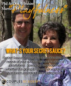 COUPLES ACADEMY ASKS, WHAT'S YOUR SECRET SAUCE? Lasting Love, Love And Marriage, Mirrored Sunglasses, The Secret, Relationship, Couples, Relationships, Couple