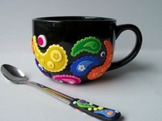 Large, Paisley design Coffee Mug with matching spoon, Soup Mug, colorful polymer clay design