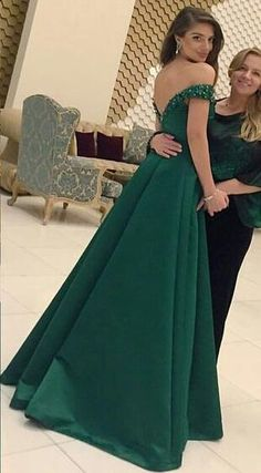 Hunter Green Off Shoulder Evening Dresses 2017 Sweetheart Crystal Beaded Satin Prom Gowns Elegant Long A Line Backless Girls Party Dress