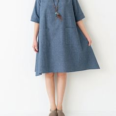 Simple and cute easy A How to make a line one piece (fashion) Dress Patterns, How To Make, How To Wear, Short Sleeve Dresses, One Piece, Sewing, My Style, Casual, Fabric
