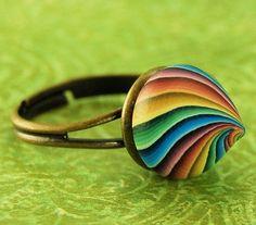Small Polymer Clay 'Rainbow Kiss' Adjustable Ring by ikandiclay