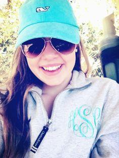 Loving the hat  monogrammed sweatshirt  classic southern prep!
