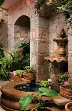 What a beautiful little corner to sit and read meanwhile you listen the fountain  it can be part of the yard