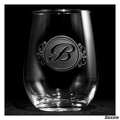 Elegant Script Monogrammed Stemless Wine Glass
