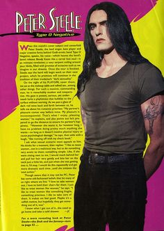 Peter Steele of Type-O Negative, Playgirl Interview