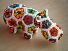 Custom order - Choose your own colors for a crochet hippopotamus made out of African Flowers - Made to order - HappypotamusChoose your own colors for your custom made hippo made out of 44 separate patches hooked together. Crochet Hippo, Crochet Unicorn, Love Crochet, Crochet Patterns Amigurumi, Crochet Animals, Crochet Toys, Crochet African Flowers, Crochet Flowers, Crochet Decoration
