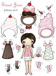 Paper Dolls Doll Cupcake Icecream And Cotton Candy by thepoppytree, $12.00