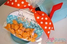 Adorable Valentines for Kids Goldfish themed