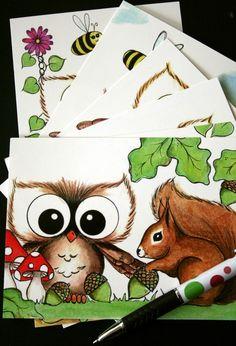 Owl postcards pick 10 by BDDesignCrafts on Etsy, $7.00