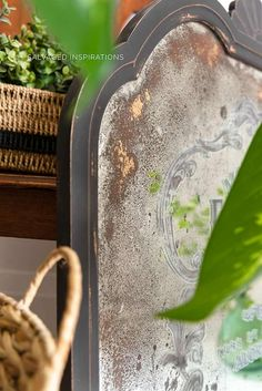 DIY Antiqued Mirror and How To Apply Prima Transfers - Salvaged Inspirations Painting Wooden Furniture, Rustic Furniture, Antique Furniture, Diy Furniture, Outdoor Furniture, Modern Furniture, Furniture Layout, Mirror Makeover, Diy Mirror