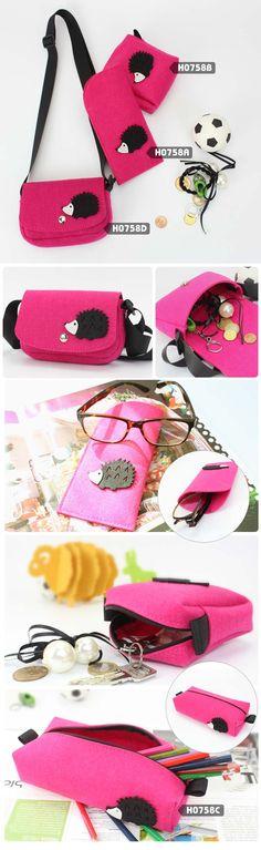 Lovely Hedgehog Series-felt glasses bag Specifications:  * material: 2mm felt * size: 9*18cm * lovely design, portable to carry glasses, for kids www.ideagroupigm.com