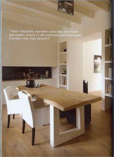 Woensdag WoonstijlTipDag >> Combineer een stoer boomstamblad met strakke witte meubelen voor een Modern Landelijke Woonstijl via Stijlvol Wonen