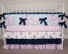 Nautical Navy and Pink Out to Sea Collection Baby Crib Bedding
