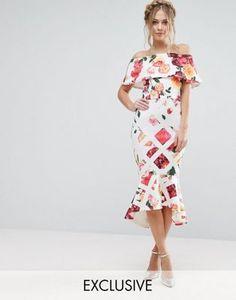 True Violet Grid Floral Midi Dress With Bardot Sleeve And Peplum Hem