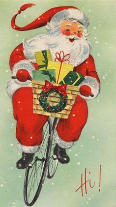 vintage santa card I love vintage santas. Vintage Christmas Images, Old Christmas, Retro Christmas, Vintage Holiday, Christmas Pictures, Christmas Crafts, Christmas Mantles, Victorian Christmas, Christmas Trees
