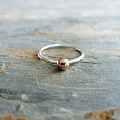 Smooth Copper Ball And Sterling Silver Minimalist Ring//