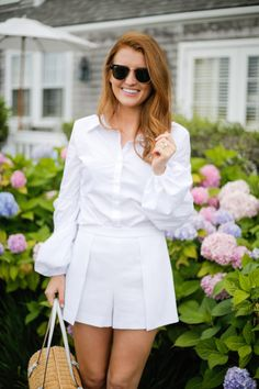 baa7ca18338 tuckernuck sloane shirt alice + olivia larissa shorts in white All White  Outfit