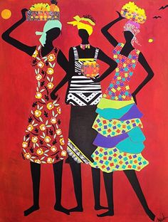 """Three Sisters:   The Gift of Talk,  The Gift of Listening and The Gift of not Judging by Charleen Martin Mixed Media ~ 30"""" x 24"""""""
