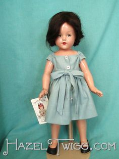 """Vintage composition doll Anne Shirley as Katniss in the blue dress she wore to the reaping in """"Hunger Games."""""""