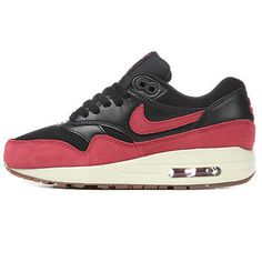 Nike Air Max 1 Essential Womens 599820-018 Black Red Gum Running Shoes Size  5.5