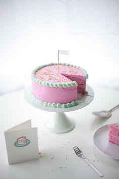 the cutest simple pink birthday cake DIY - coco cake land