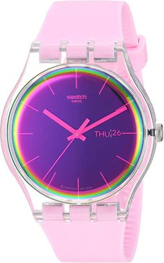 Imported Originals New gent 2019 41 mm round case with push/pull crown 3 bar water resistance Free battery exchange at Swatch retail locations 2 year Stylish Watches, Casual Watches, Cool Watches, Swatch, Spectrum Glass, Gifts For My Wife, Watch Model, Madame, Watch Brands