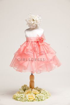 White Satin Bodice with Coral Organza Overlayed Toddler DressJB808-CR JB808-CR $40.95 on www.GirlsDressLine.Com