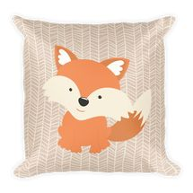 Baby Fox Pillow printed both sides with Mom fox in the back Forest Nursery, Woodland Nursery, Fox Nursery, Woodland Animals, Soft Pillows, Throw Pillows, Fox Pillow, Orange Palette, Woodland Decor