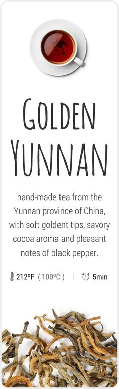 Farm-fresh tea from Yunnan, China, the birthplace of tea.
