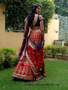 Red & Blue Lehenga #lehenga #choli #indian #shaadi #bridal #fashion #style #desi #designer #blouse #wedding #gorgeous #beautiful